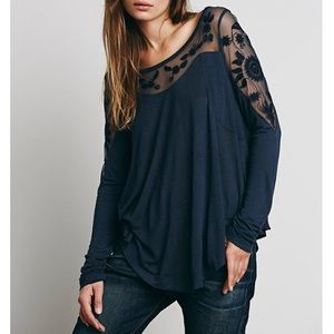 Free People / Black Lace Floral Long Sleeve Shirt